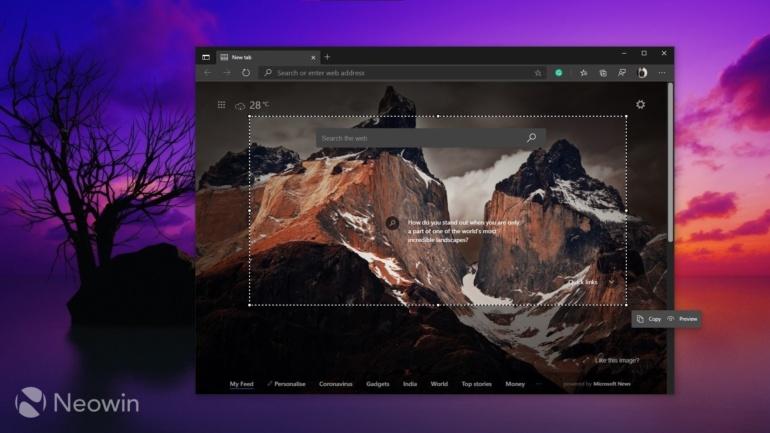 Microsoft рассказала о функции Web Capture, которая уже доступна в браузере Edge в сборках каналов Canary и Dev