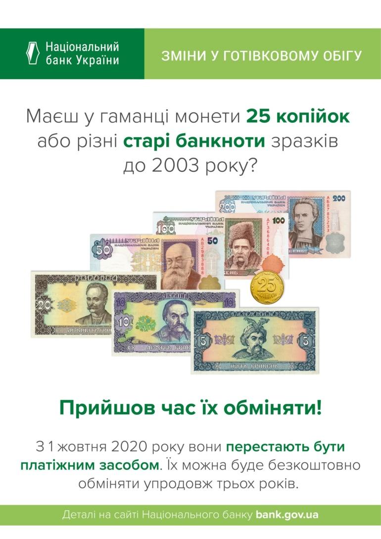 НБУ выводит из обращения монету номиналом 25 копеек (и старые банкноты до 2003 года) с 1 октября 2020 года