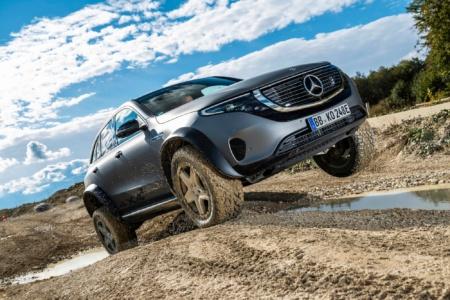 Немцы впервые показали экстремальный электрокроссовер Mercedes EQC 4×4² на видео