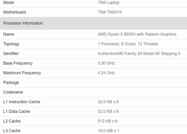 Грядущие процессоры Intel Core i7-11370H, Core i5-11300H и AMD Ryzen 5 5600H протестировали в Geekbench