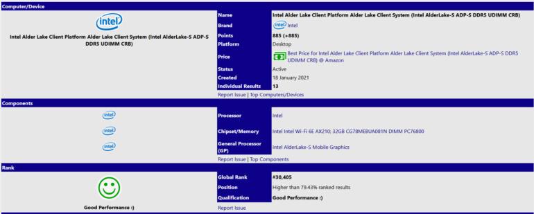 В базе данных SiSoftware замечен процессор Intel Alder Lake-S: 16 ядер, 32 потока, частота до 4,0 ГГц и поддержка DDR5