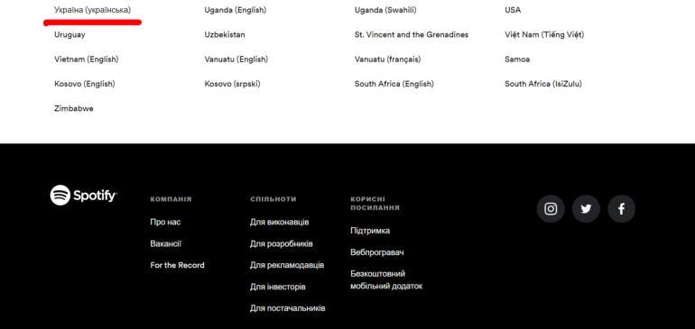 Spotify нарешті переклав українською інтерфейс сайту (а от додатки поки не подужав)
