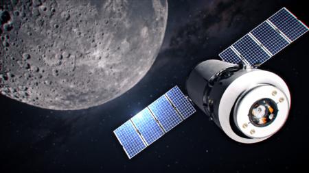 NASA опубликовала рендеры будущего корабля SpaceX Dragon XL на фоне окололунной станции Gateway