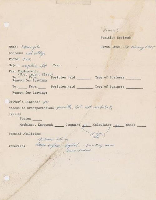 Рукописное заявление Стива Джобса о приёме на работу от 1973 года продано на аукционе за $222 400