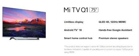 Новейший телевизор Xiaomi Mi Q1 TV с HDMI 2.1 и 120-герцевой панелью QLED 4K нативно поддерживает только 60 Гц