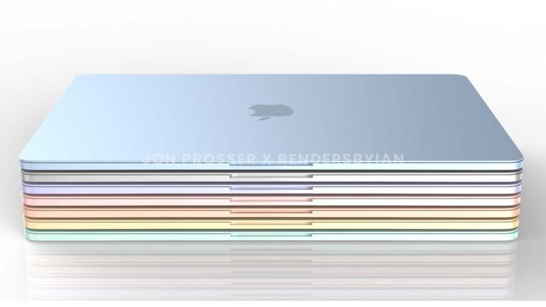 """В сети появились рендеры MacBook Air 2021 года с новым дизайном в семи цветах, перекликающихся с палитрой нового iMac 24"""""""