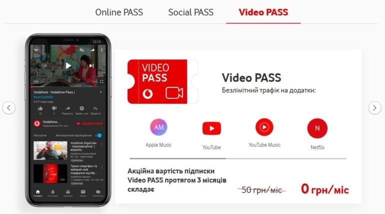 Vodafone збільшив кількість сервісів у Video PASS, тепер в Apple Music, YouTube Music, Shazam, SoundCloud, Deezer та Spotify безлімітний трафік