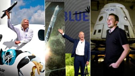 Джефф Безос и Ричард Брэнсон соревнуются, кто первый полетит в космос. Тем временем Илон Маск продолжает подтрунивать над соперниками в твиттере